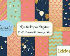 Kit Papel Digital Festa Glitter