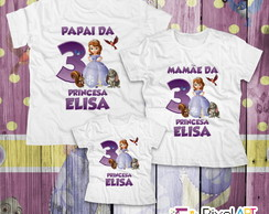 Kit 3 Camisetas Princesa Sofia