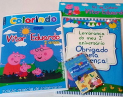 Kit - Revista colorir + Giz - Peppa Pig