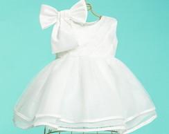 f6c20031bd Kit vestido branco batizado+sapato pérola e tiara 4 a 8meses no Elo7 ...