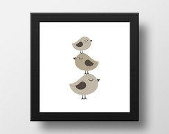 Quadro 3 Little Birds PB (Com Moldura)