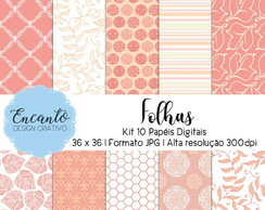 Kit Papel Digital - Folhas
