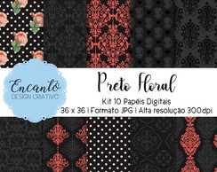 Kit Papel Digital - Preto Floral
