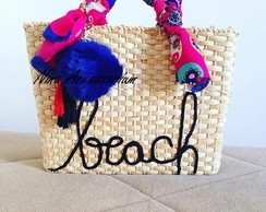 Bolsa de palha M customizada beach