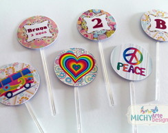 Toppers Para Doces - Hippie