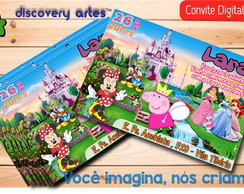 Convite Digital Peppa Pig na Disney
