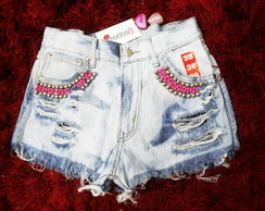 Short Customizado Bordado Jeans