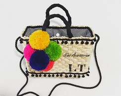 Bolsa de palha customizada hippie chic