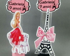 Tubete 3d Barbie Paris preto e rosa