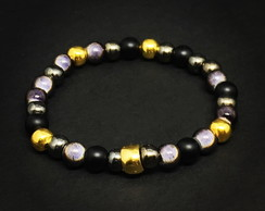 Gold and Black Beads Bracelet