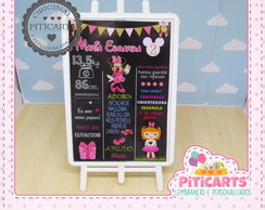 Plaquinha Chalk Board Minnie Rosa