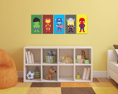 Kit Decorativo - 5 Quadros Super Herois Baby Infantil