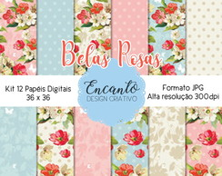 Kit Papel Digital - Belas Rosas Floral