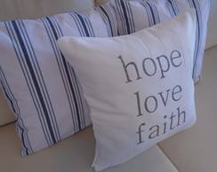 "Kit 03 Capas ""love hope faith "" / Listras 45x45"