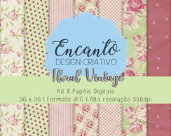 Kit Papel Digital - Floral Vintage 1