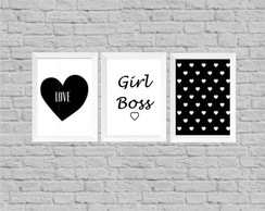 Kit quadro infantil girl boss love