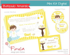 Mini Kit Digital Batizado Amarelo