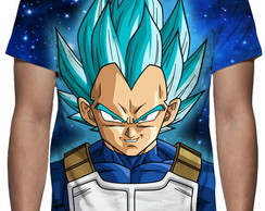 Camiseta Dragon Ball Super - Vegeta Face Estampa Total