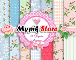 Kit Papel Digital Rosa Floral Chic - 12