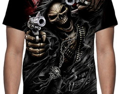 Camiseta Caveira Gunslinger - Estampa Total