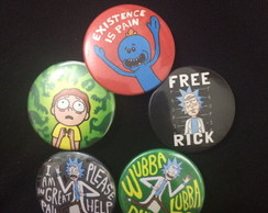 Kit 5 Bottons / Broches Rick e Morty