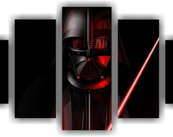 Quadro Decorativo Star Wars Darth Vader Mosaico 5 Pçs 3
