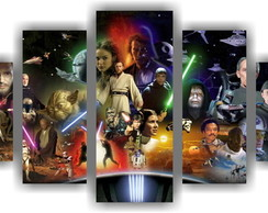 Quadro Decorativo Star Wars Mosaico 5 Pçs Decorar Salas 6