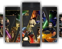 Quadro Decorativo Star Wars Mosaico 5 Pçs Decorar Salas 7
