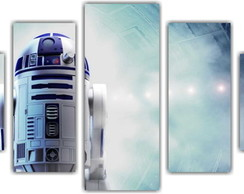 Quadro Decorativo Star Wars R2D2 Mosaico 5 Pçs 17