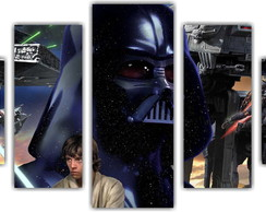 Quadro Decorativo Star Wars Mosaico 5 Pçs 20
