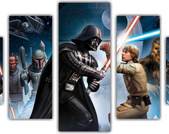 Quadro Decorativo Star Wars Mosaico 5 Pçs 24