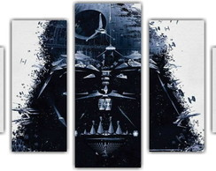 Quadro Decorativo Star Wars Mosaico 5 Pçs 25