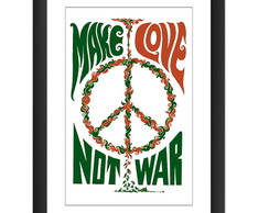 Quadro Make Love Not War Arte Hippie Anos 60 Decoracao Rock