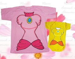 Kit Camiseta e body divertidos 2 peças Princesas do Mario