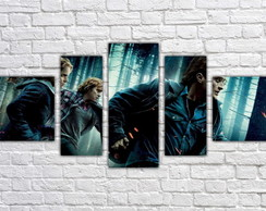 Quadro Decorativo Harry Potter Filme Mosaico 5 Pçs 01