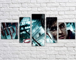 Quadro Decorativo Harry Potter Filme Mosaico 5 Pçs 04