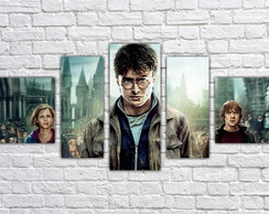 Quadro Decorativo Harry Potter Filme Mosaico 5 Pçs 06