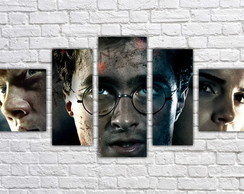 Quadro Decorativo Harry Potter Filme Mosaico 5 Pçs 08