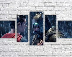 Quadro Decorativo Filme Batman x Superman Mosaico 5 Pçs 2