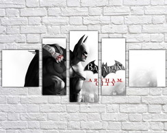 Quadro Decorativo Batman Interiores Mosaico 5 Pçs 01