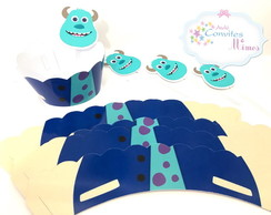 Kit wrappers + toppers para minicupcakes monstros