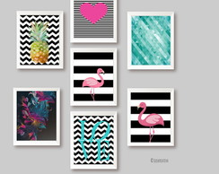 Quadros Decor Tema Tropical -Flamingo Abacaxi