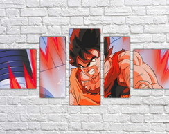 Quadro Decorativo Goku Dragon Ball Z Mosaico 5 Pçs 04