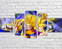 Quadro Decorativo Vegeta Dragon Ball Z Mosaico 5 Pçs 09
