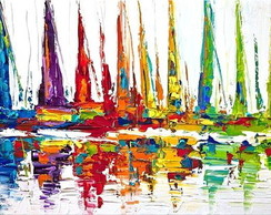 QUADRO ABSTRATO BARCOS COLORIDA