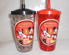 Copo com Canudo 500ml Mickey e Minnie nv mod 02