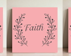 Plaquinha Quadro MDF Kit Frase Love Faith Hope Fé Amor