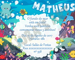 Arte Digital Convite Fundo do Mar