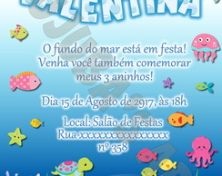 Convite Fundo do Mar Com Envelope