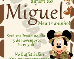 Convite Mickey Safari Com Envelope